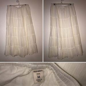 White Boho Cotton Skirt Old Navy Size M
